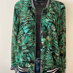 Sheer jungle print bomber
